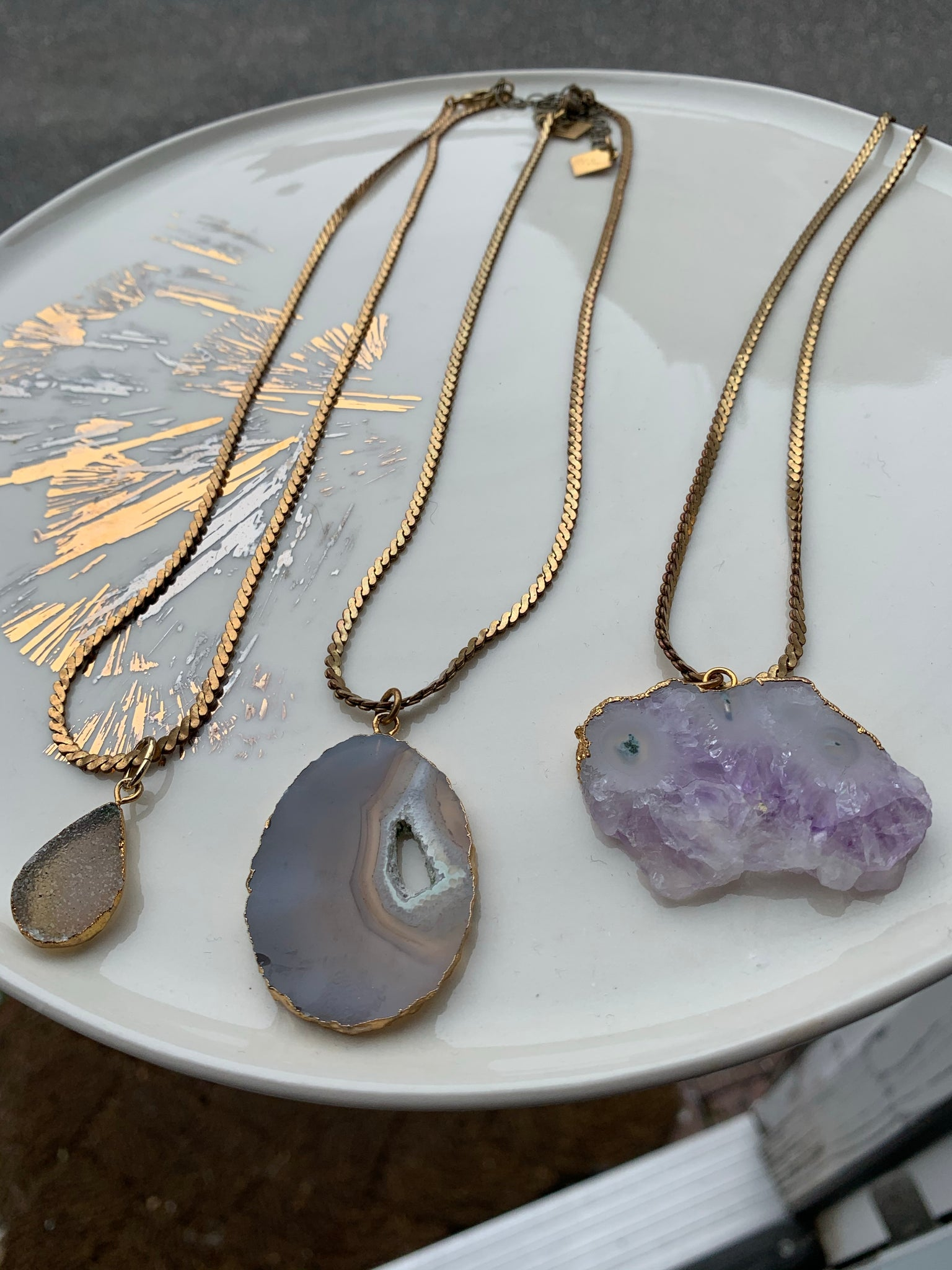 Stone Cooper Necklaces - Natural stone with repurposed chain