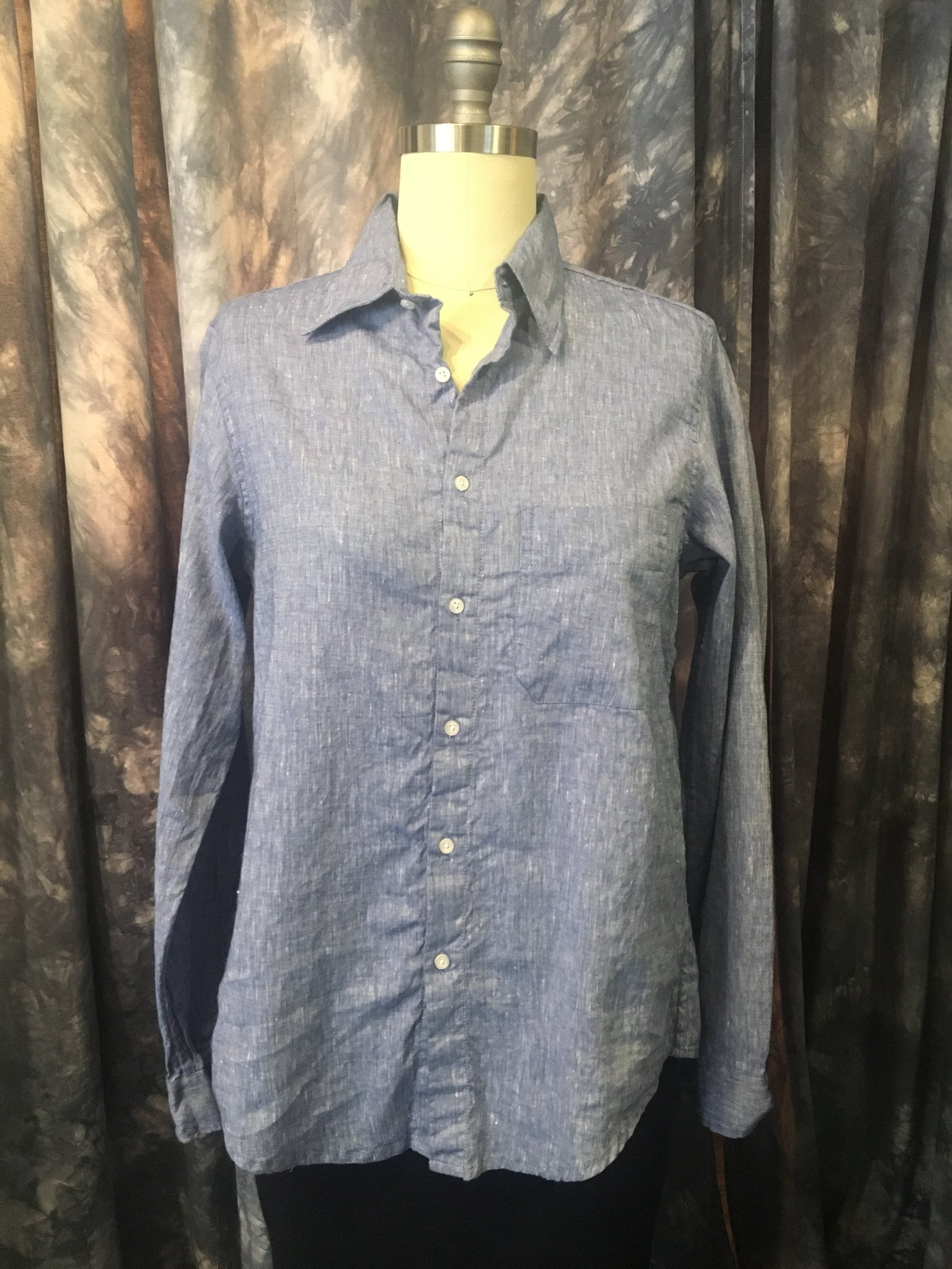 American Colors Linen Blue Boyfriend Shirt