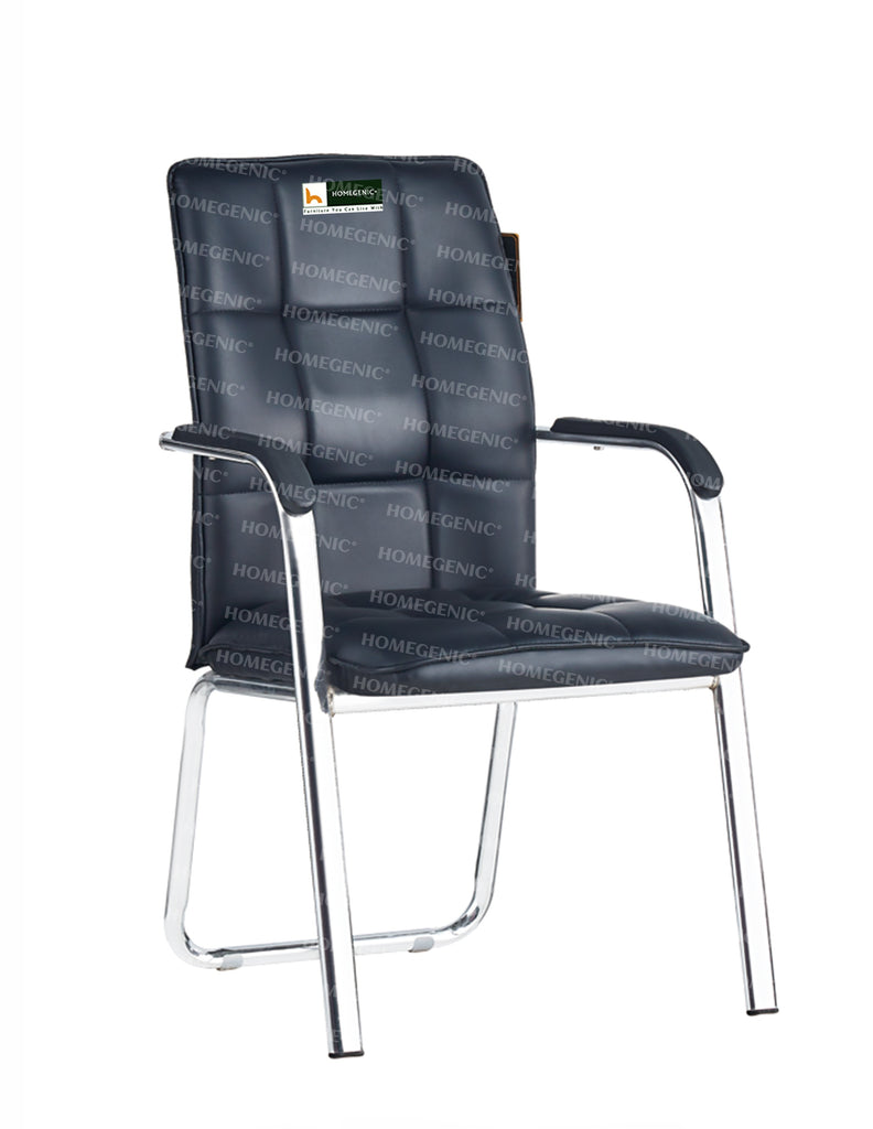Homegenic Leatherette Office Visitor Chair (Two Plair Square) Black Color - HOMEGENIC