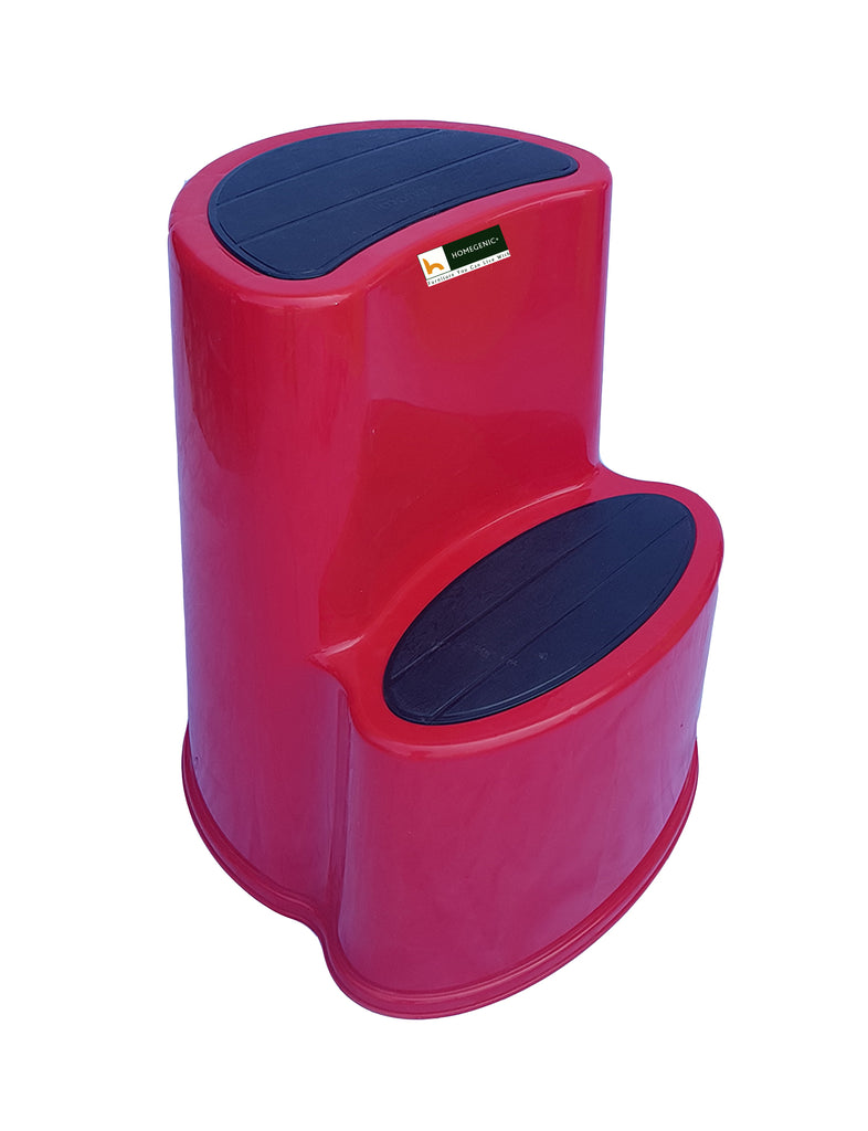 "Mango Napolean Round Stepper Double Step Stool 24"" (Red) - HOMEGENIC"