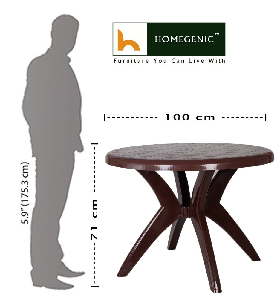 Kisan Round Dining Table 100% PP Material - Dark Brown - HOMEGENIC