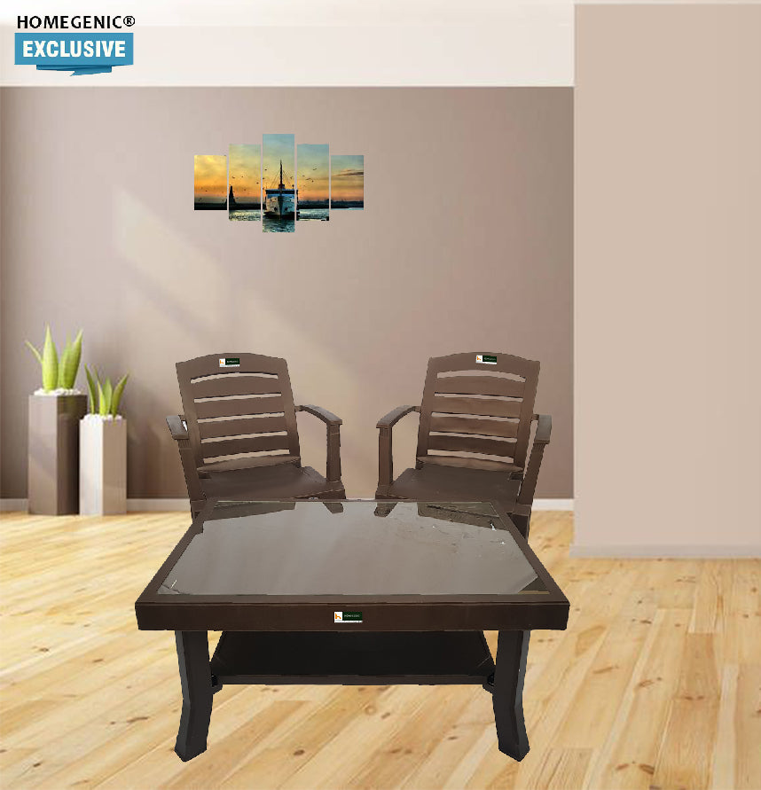 Nilkamal Rogue Coffee Table Set with 2 Passion Chairs (Weather Brown).