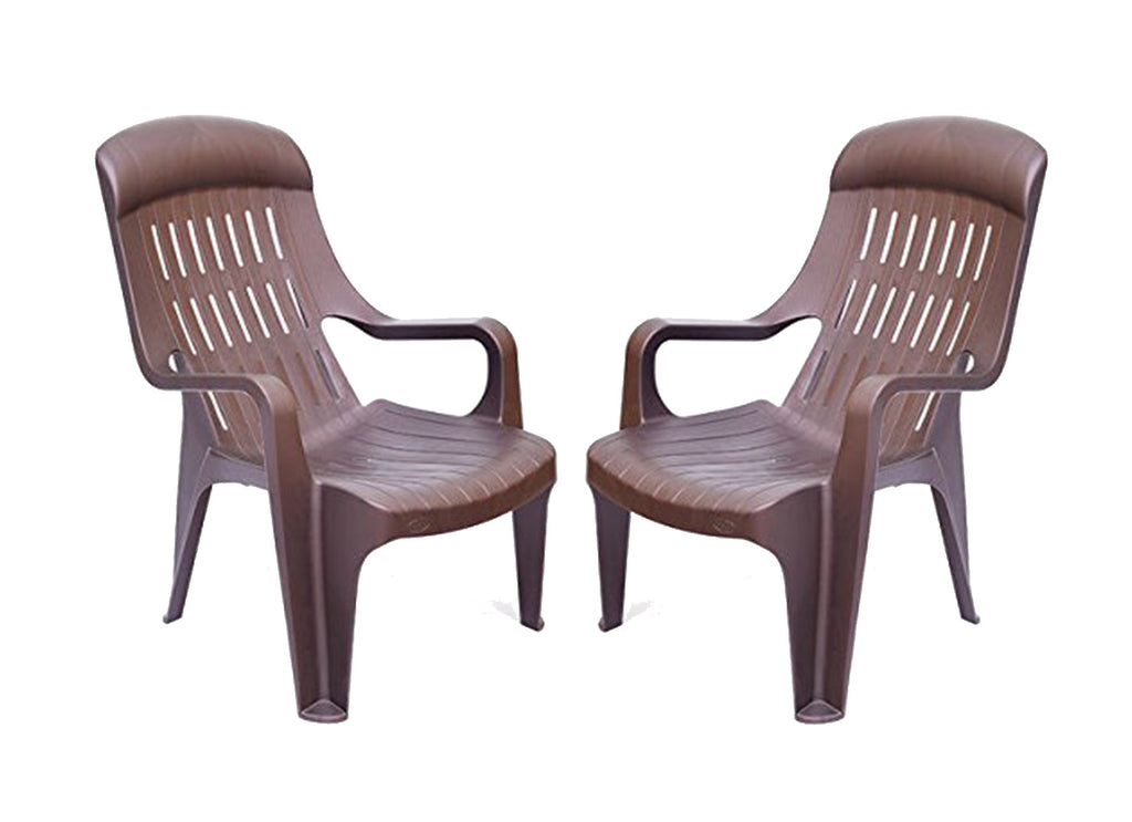Nilkamal Weekender Relax Chair (Brown) - Set of 2 pcs - HOMEGENIC