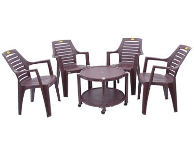 Kisan Outdoor Table Set (1+4) Brown - HOMEGENIC