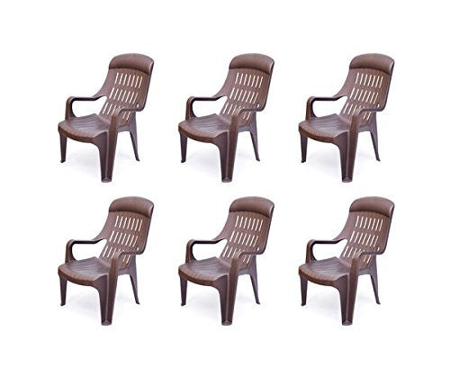 Nilkamal Weekender Relax Chair (Brown) - Set of 6 pcs - HOMEGENIC