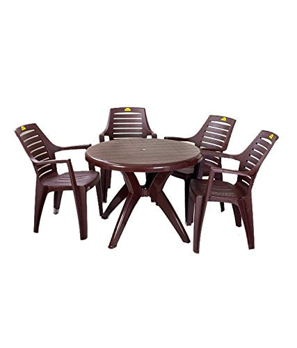 Kisan Elegant Round Dining Table Set 1+4 (Brown) - HOMEGENIC
