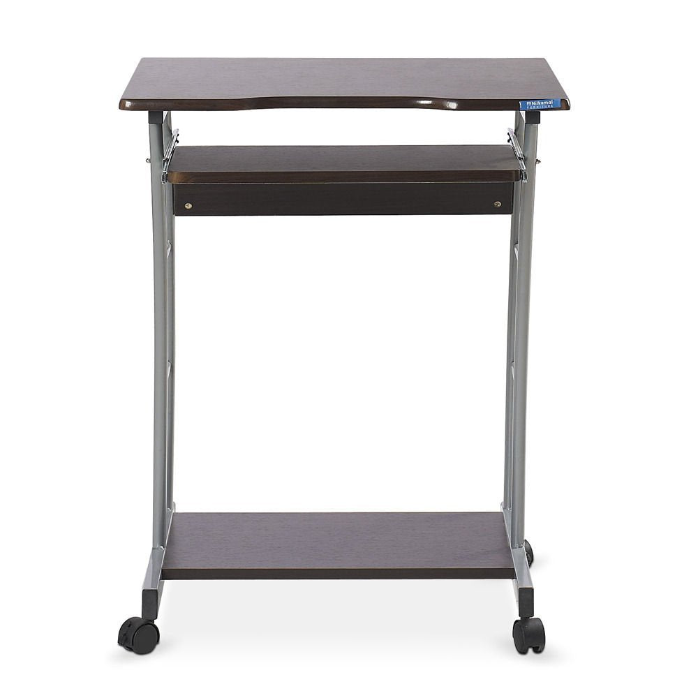 Nilkamal Leo Computer Trolley/Table (Walnut) - HOMEGENIC