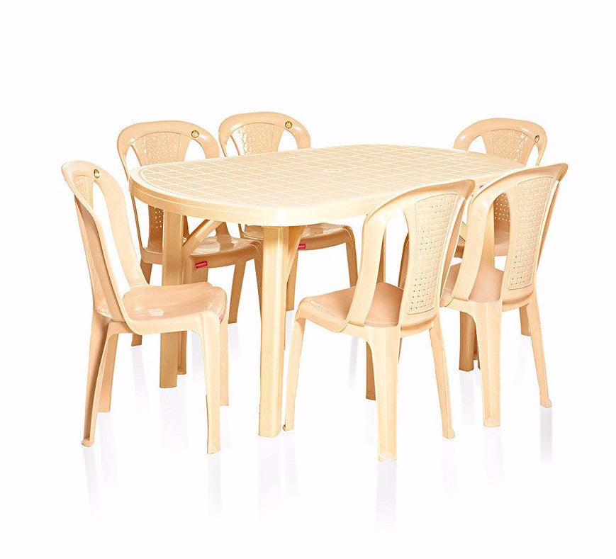 meet a46ce 16934 Varmora Dezire 6 Seater Dinning Set with Netted Chairs - HOMEGENIC