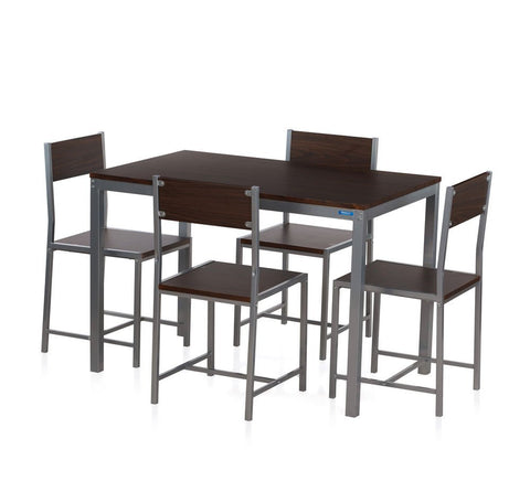 Nilkamal Wigo Four Seater Dining Table Set (Glossy Finish, Walnut) - HOMEGENIC