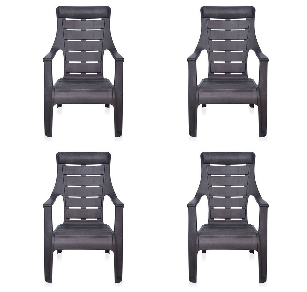 Nilkamal Sunday Garden Chair, Set of 4 (Weather Brown)