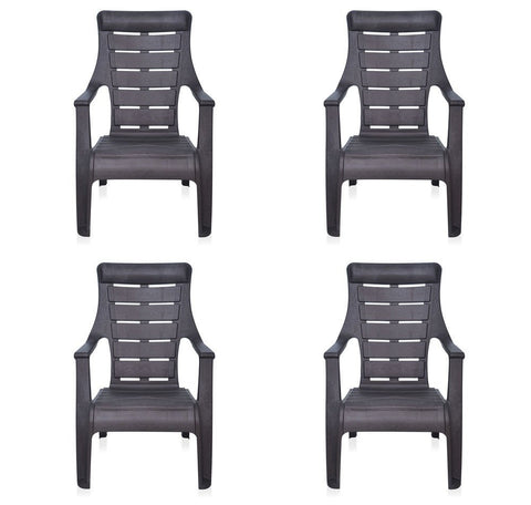 Nilkamal Sunday Garden Chair, Set of 4 (Weather Brown) - HOMEGENIC