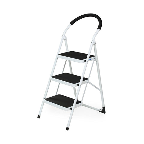 Nilkamal Vesta 3 Step Ladder (Black and White) - HOMEGENIC
