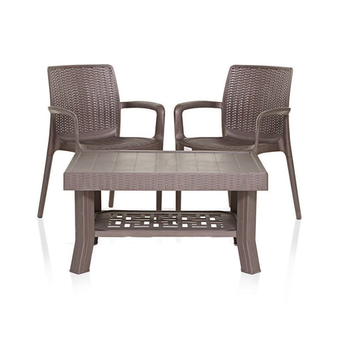 Varmora Coffee Table Set with Esquire Chair (Brown) 1+2