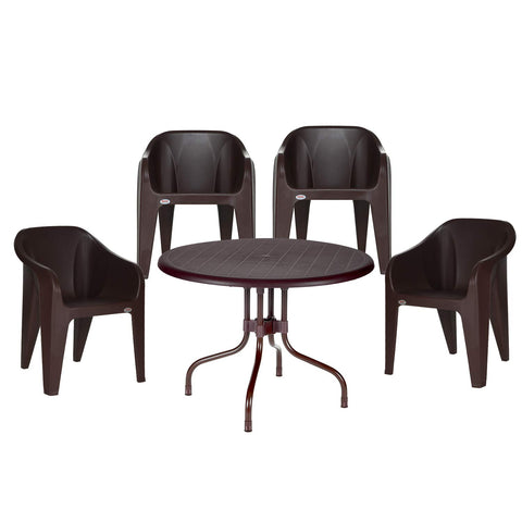 Cherry Dining Table Set with Futura Set of 4 Chairs (Brown)