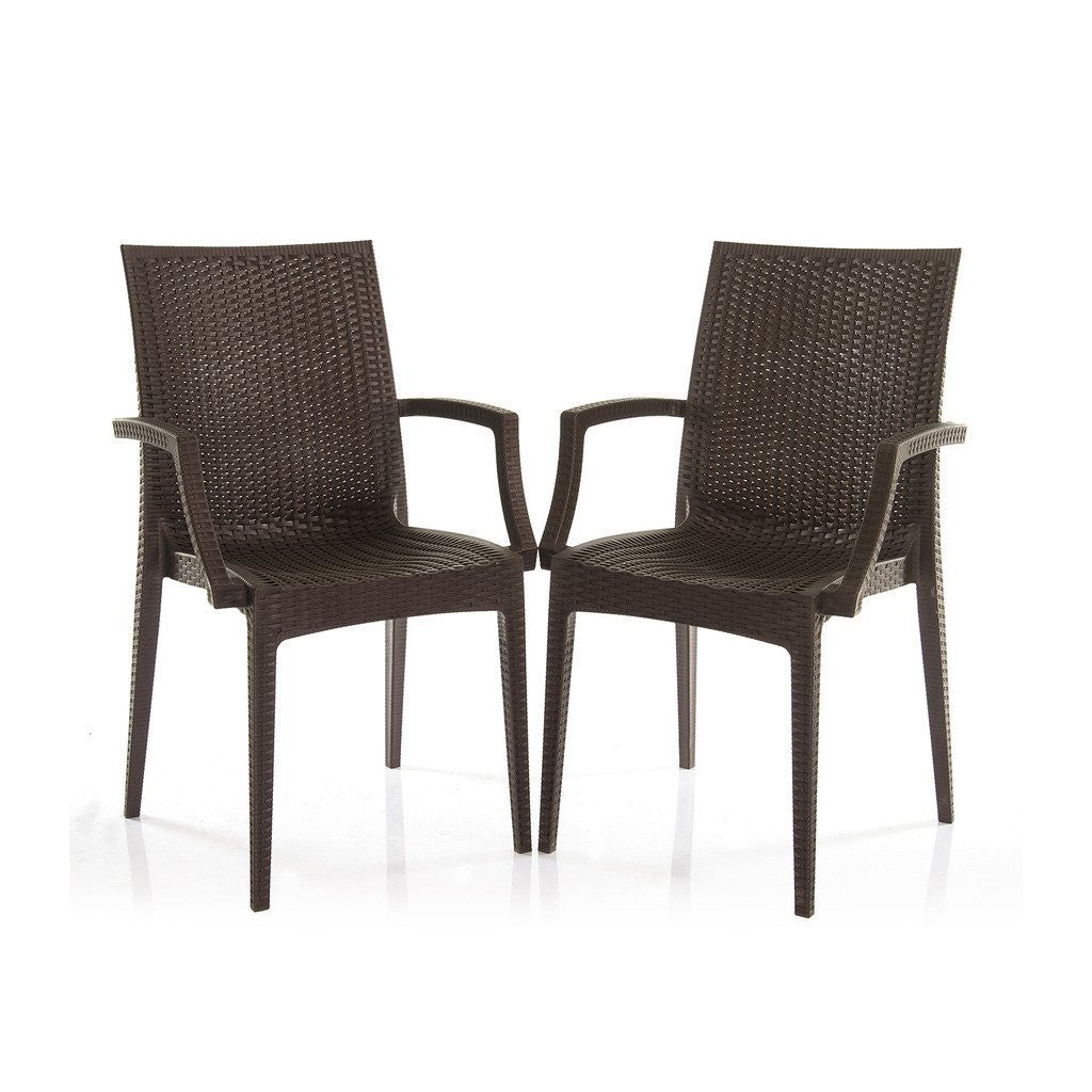 Varmora Designer Chair Set of 2 (Club Handle - Brown) - HOMEGENIC