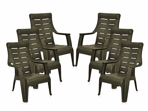 Nilkamal Sunday Garden Chair, Set of 6 (Weather Brown) - HOMEGENIC