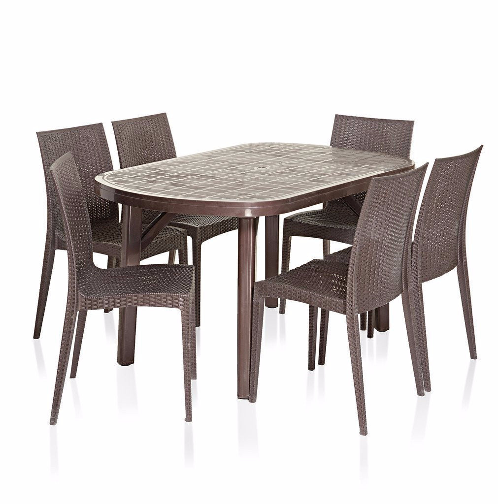 Varmora Premium Dezire Dining Set 1+6 (Brown) - HOMEGENIC