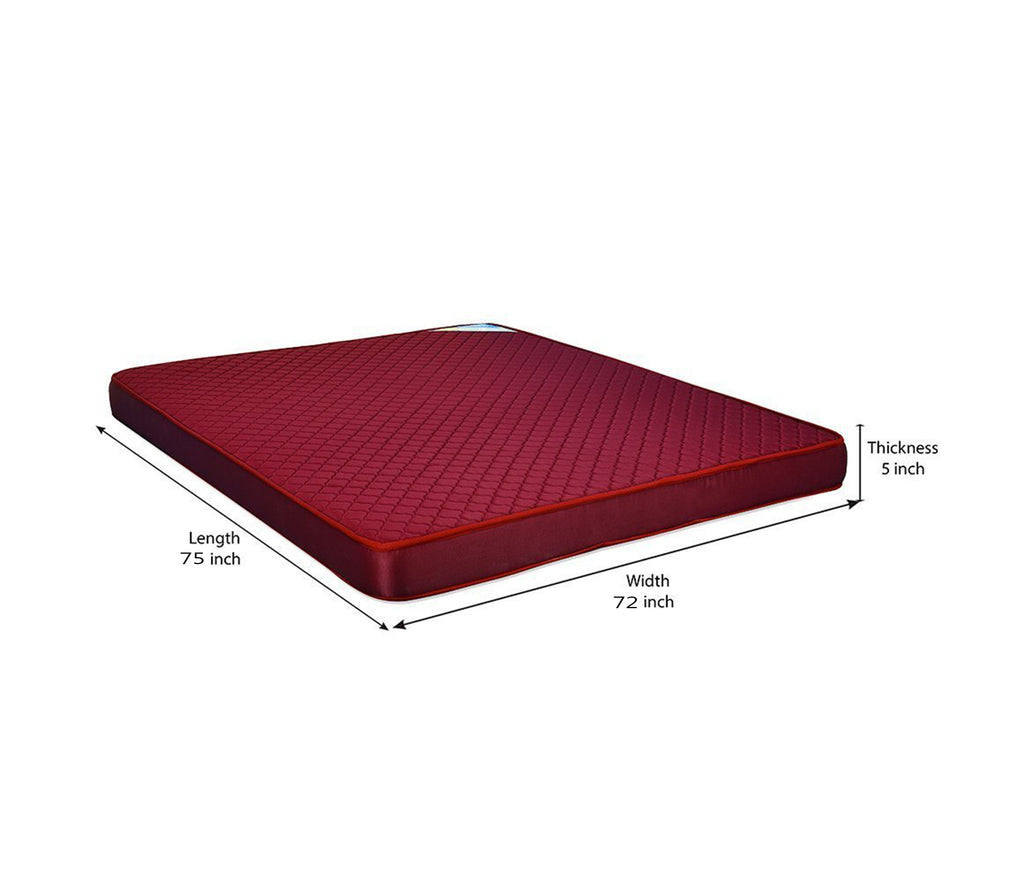 Nilkamal Executive 5-inch King Size Foam Mattress (Maroon, 75x72x5) - HOMEGENIC
