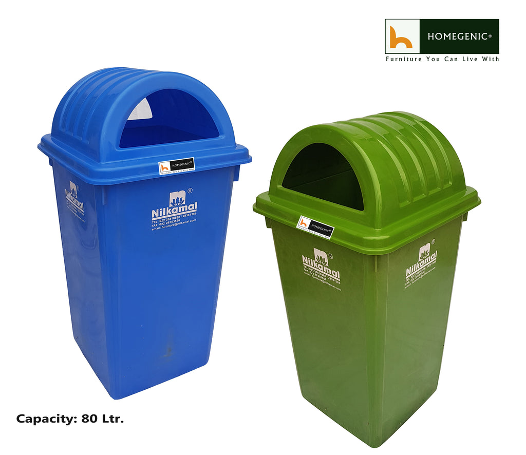 Nilkamal Waste bin 80 Ltr. ( Green and Blue) Set of 2 Pcs - HOMEGENIC