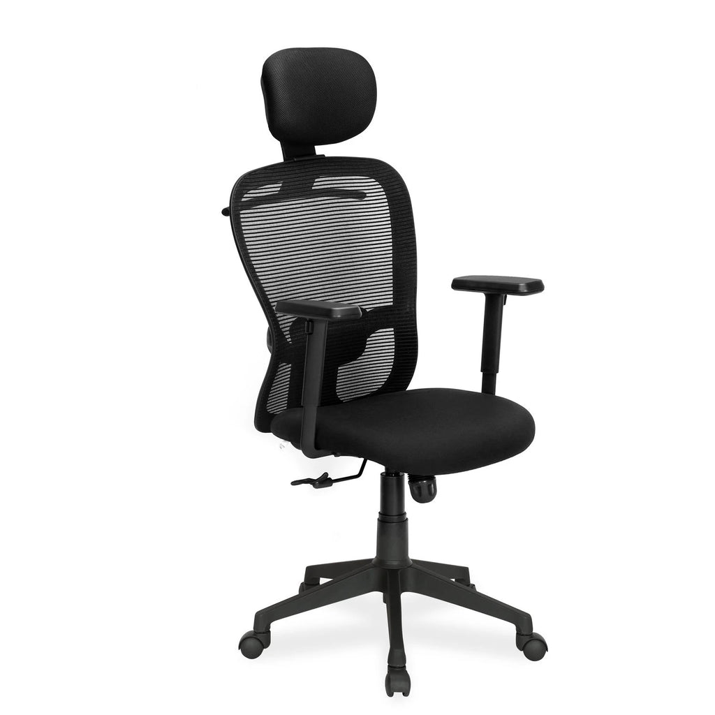 Nilkamal Alba High Back Mesh with Head Rest Chair (Black)
