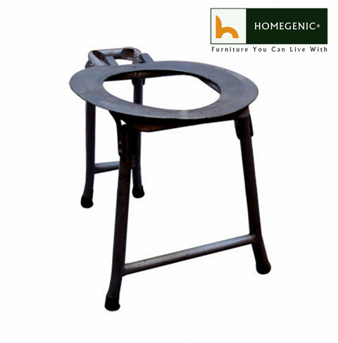 Economy Commode Fold-able Chair for Adult & Patients (Silver or Black) - HOMEGENIC