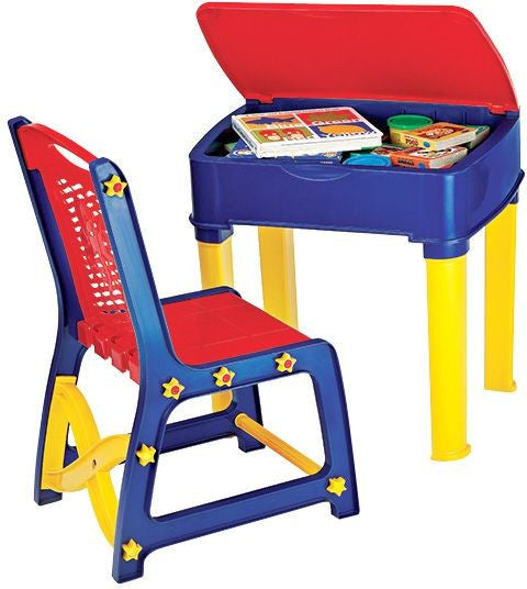 Nilkamal Apple Junior's Study Table Set - Red And Blue - HOMEGENIC
