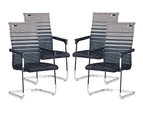 Homegenic S Type Cantilever Mesh Office Visitor Chairs (Stainless Steel) Rectangular Pipe - HOMEGENIC