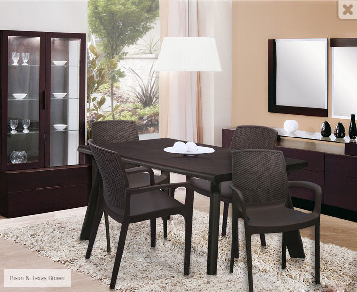 Bison 4 Seater Dining Table Set with Taxes Chairs (Brown) - HOMEGENIC