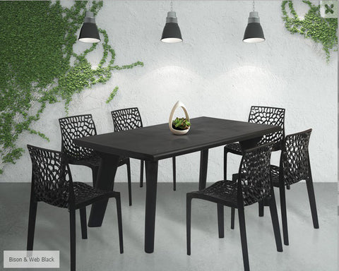 Bison 6 Seater Dining Table Set with Web Chairs (Black) - HOMEGENIC