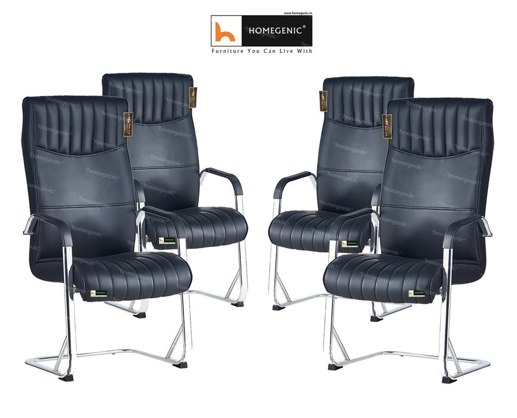 Homegenic Leatherette Office Visitor Chair B816 (Black Color) - HOMEGENIC