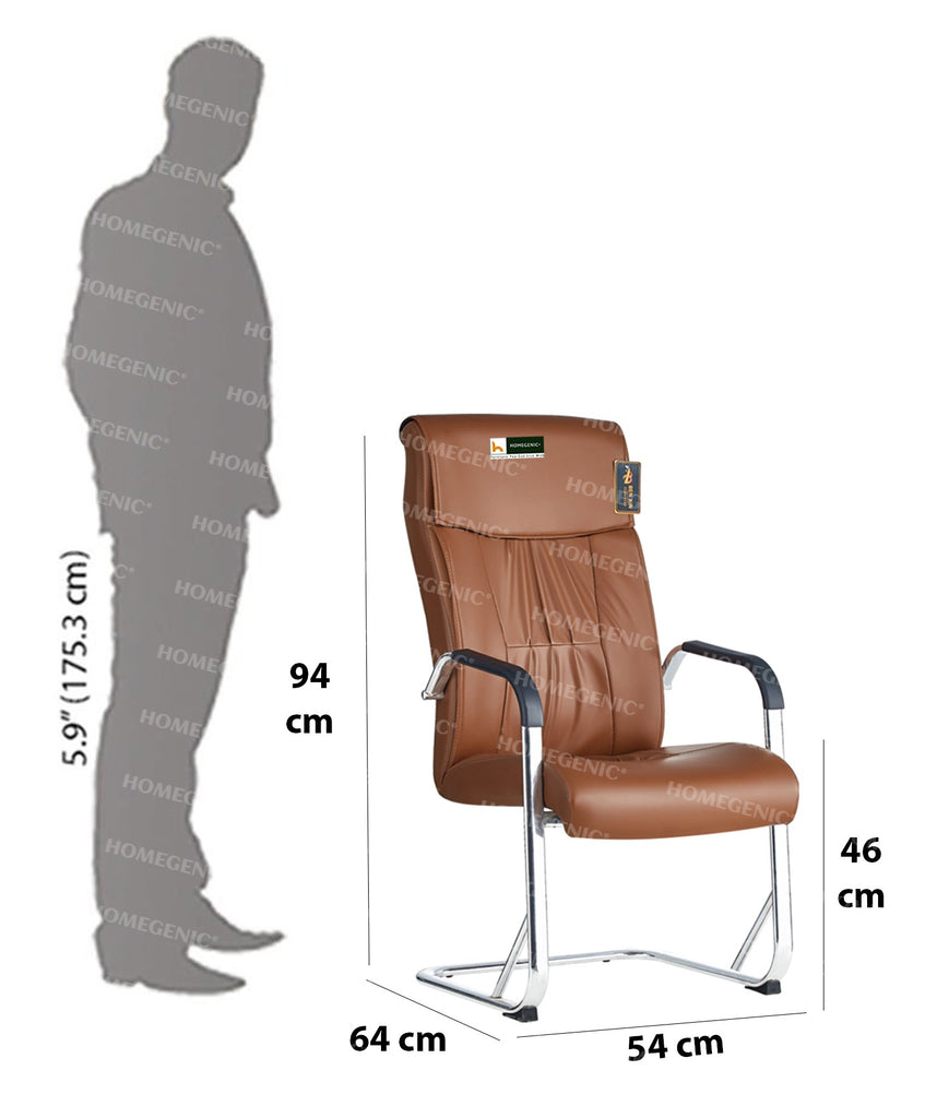 Homegenic Leatherette Office Visitor Chair B816 (Brown Color) - HOMEGENIC