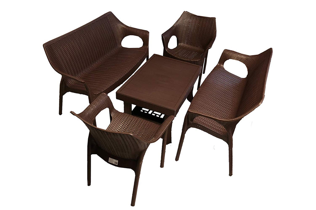 Supreme 6 Seater Plastic Table Chair Set with 2 Love Seats, 2 Cambridge Chairs, and 1 Vegas Table,  (Wenge) - HOMEGENIC