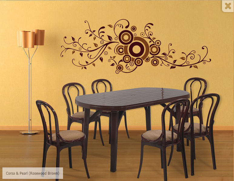 Corsa 6 Seater Dining Table Set with Pearl Cushion Chairs (BROWN) - HOMEGENIC