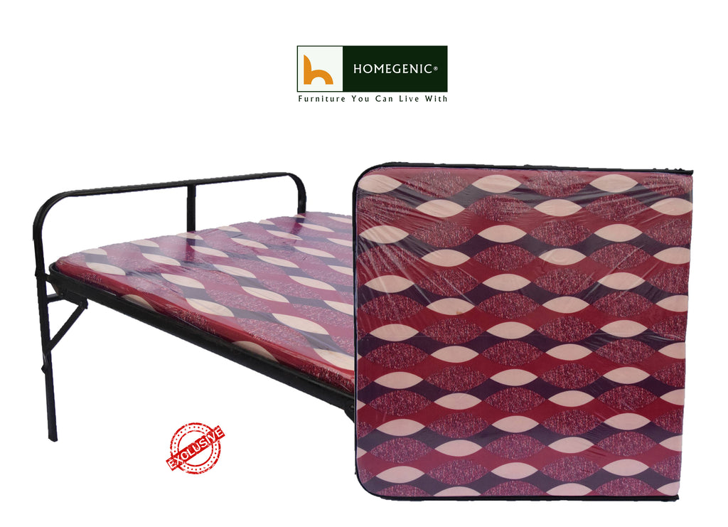 Smart Single Folding Guest Bed With Foam Mattress Base Multi Color Fabric