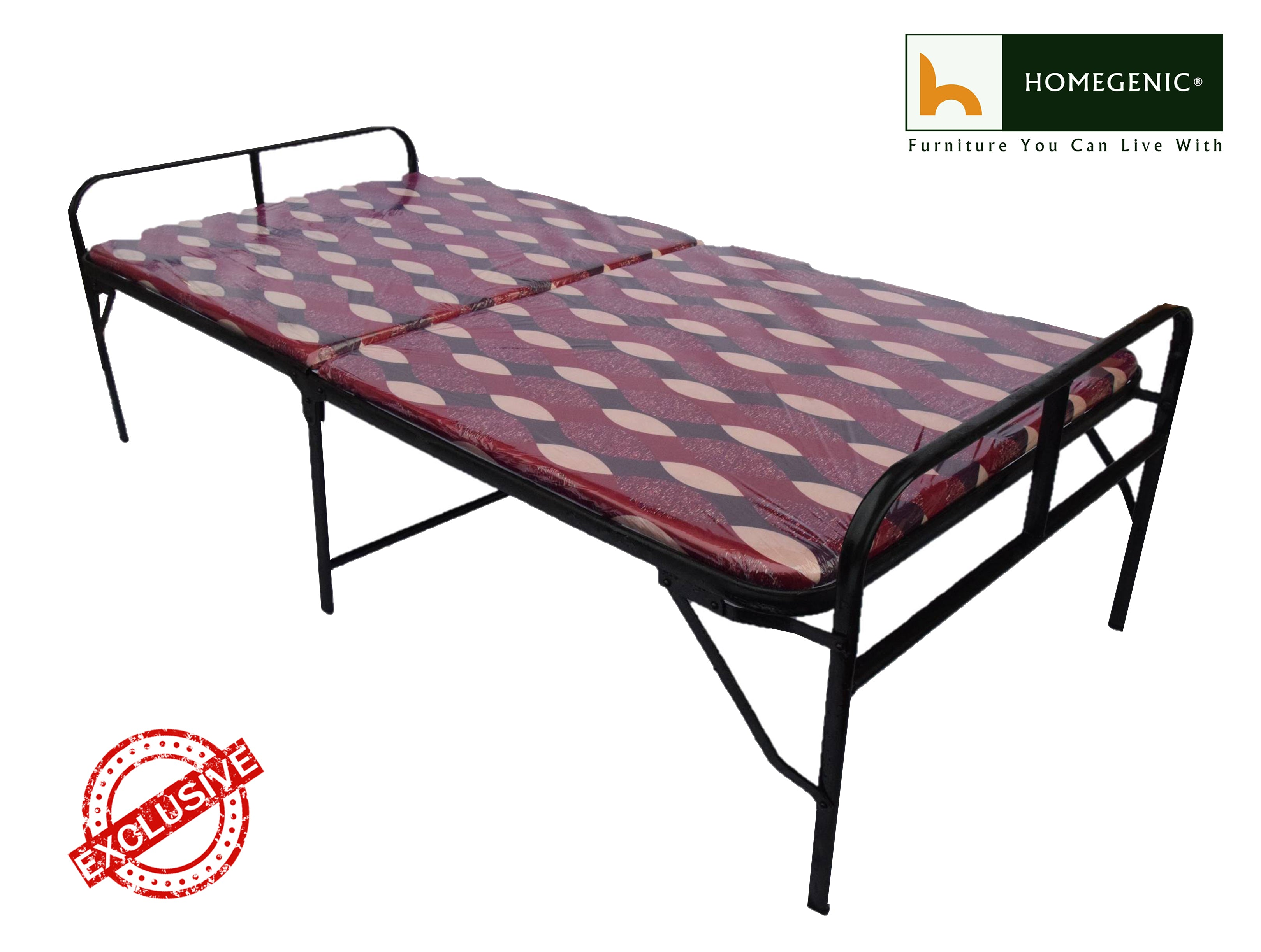 reputable site f1bf1 f3e9a Smart Single Folding Guest Bed with Foam Mattress Base Multi color Fabric