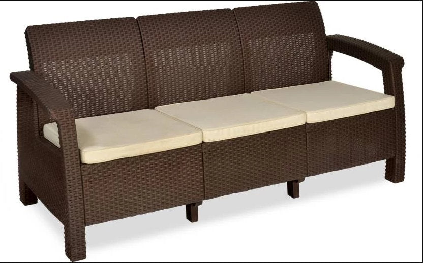 Nilkamal Goa Sofa Three, Two, One Seater & Complete Sofa Set (Season Rust Brown) - HOMEGENIC