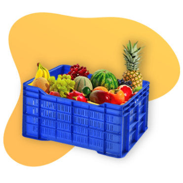 Nilkamal Food Grade HDPE Vegetable and Fruit Crate (Blue) plastic crates vegetable crates fruit crate crates for storage large crates for plants Nilkamal 25kg Crate Nilkamal Vegetable Crate Supreme Vegetable Crate
