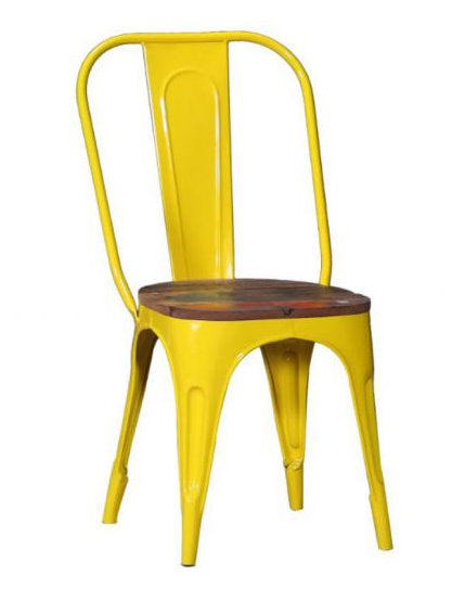 Tolix Metal Bistro Dining Chair With Wood Top.