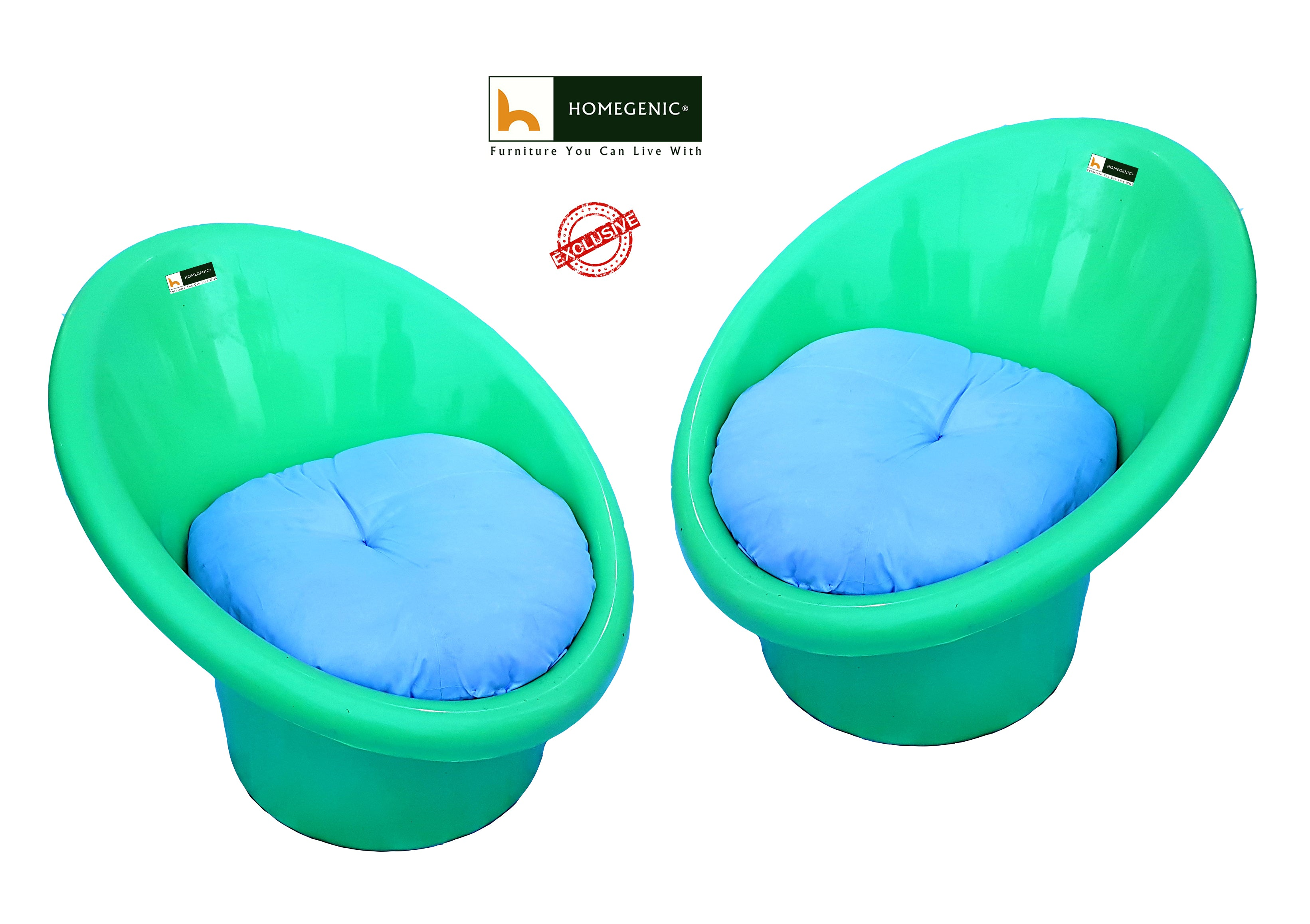 National Tub Chair with Complimentary Cushions (Green color) Set of ...