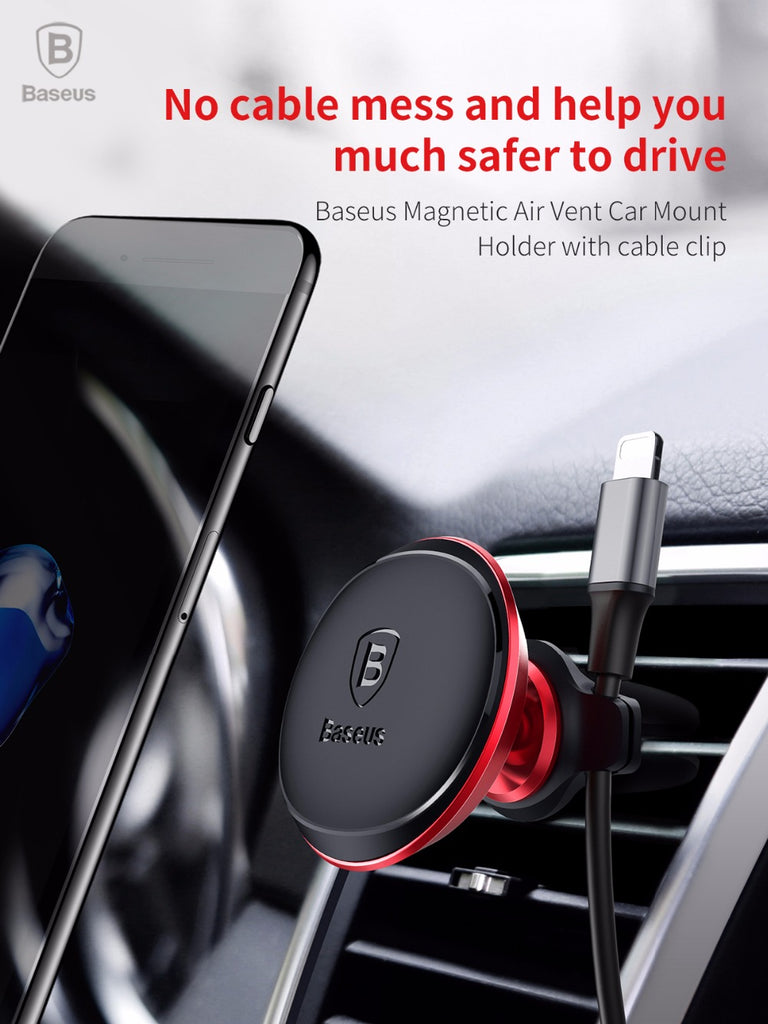 Baseus Magnetic Car Mobile holder with cable clip 360 Rotate - HOMEGENIC