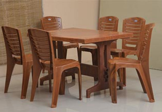 Nilkamal Ultima Premium Dining Table Set 1+6 (Pear Wood) - HOMEGENIC