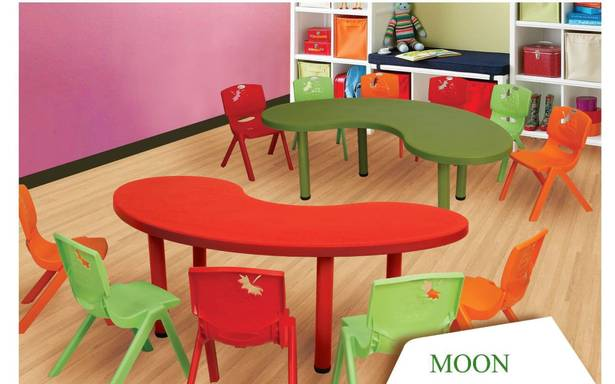 Supreme Moon Blow Mould Kids Study Table (5 Feet) - HOMEGENIC