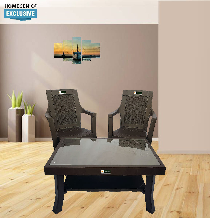 nilkamal rogue coffee table set with 2 mystique chairs weather brown