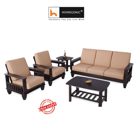 Nilkamal Wooden With Fabric Manhattan Sofa Set 3+1+1 (Cappuccino) Without Coffee Table By Homegenic® - HOMEGENIC
