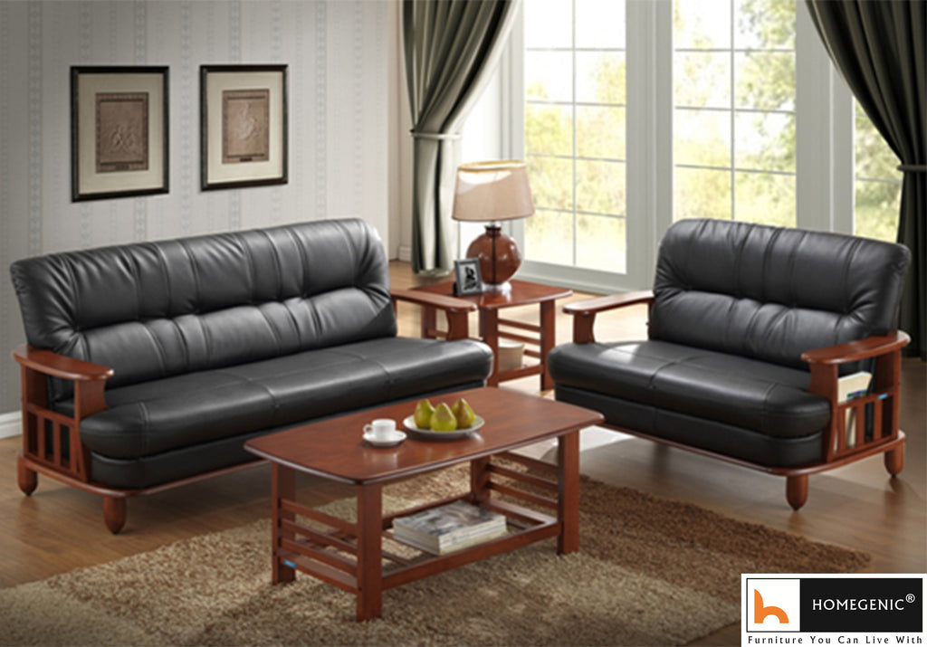 Nilkamal Wooden With Leatherite Legacy Sofa Set 3+2 (Oak & Black) Without Coffee Table - HOMEGENIC