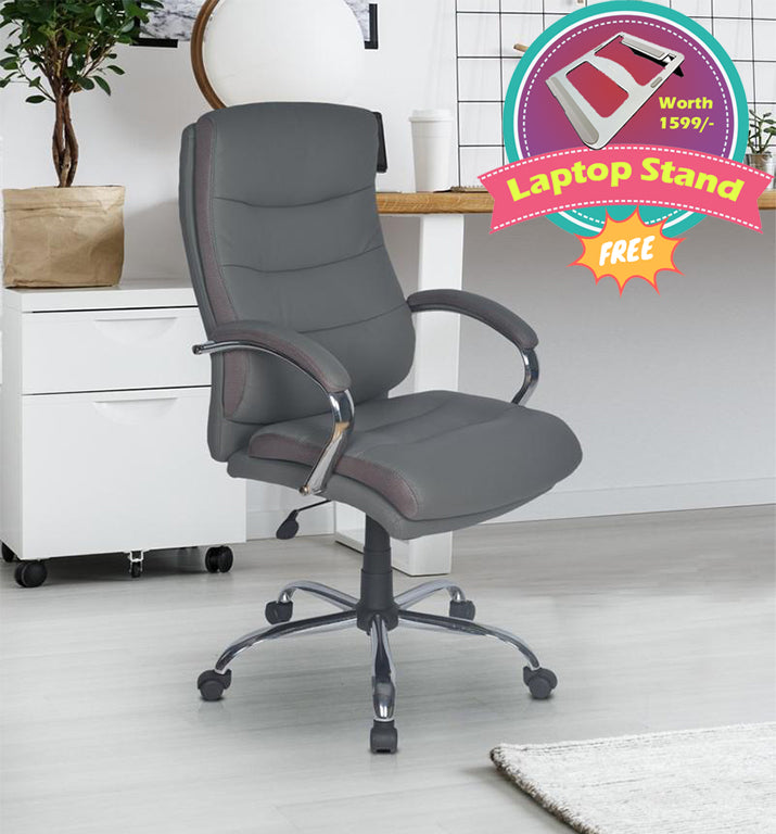 Nilkamal Neal High Back Office Chair (Grey) with Laptop Stand Complimentary