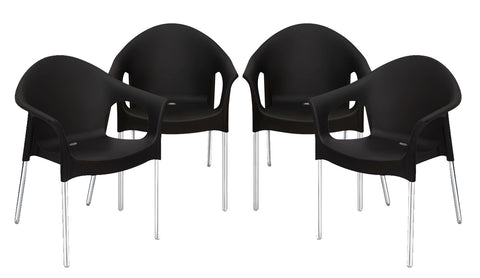 Nilkamal Premium Chair SS Set of 04 (Black) - HOMEGENIC