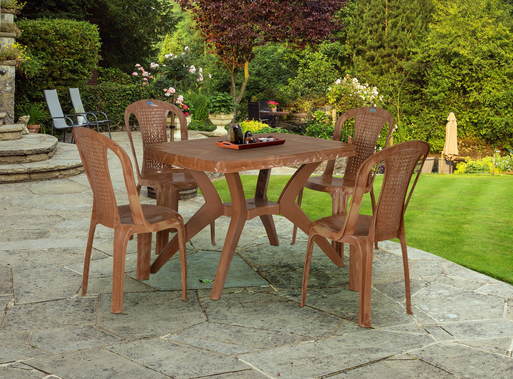 Nilkamal Shahenshah Kross Leg Dining Table 4 Seater with 4 Chairs - HOMEGENIC