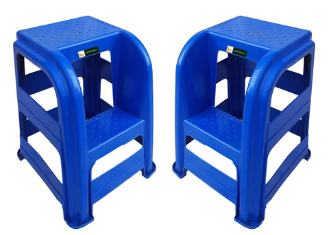 Stepper Double Step Ladder Stool (Blue) Set of 2 Pcs - HOMEGENIC