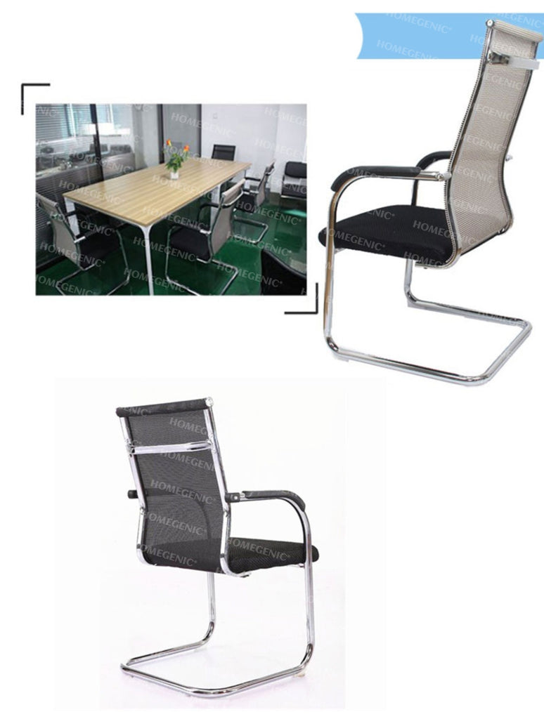 Homegenic S Type Cantilever Mesh Office Visitor Chairs (Stainless Steel) - HOMEGENIC
